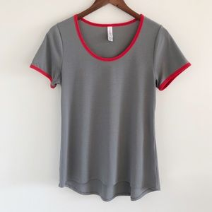 Lularoe Gray Scoopneck Tee T-Shirt Red Trim XS